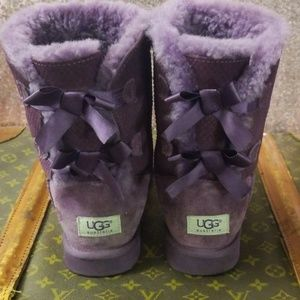 UGGS Bailey Double Bow Purple Exotic Scales Boots